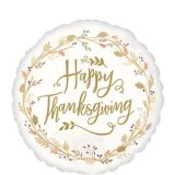 Happy Thanksgiving Balloon, White/Gold, 17-in | Amscannull