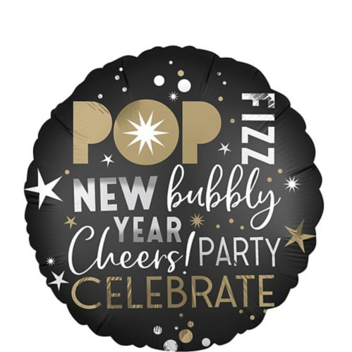 New Year's Eve Balloon, Black/Gold/Silver, 18-in