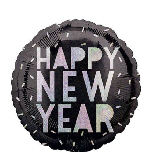 Happy New Year Balloon, Black/Iridescent, 17-in