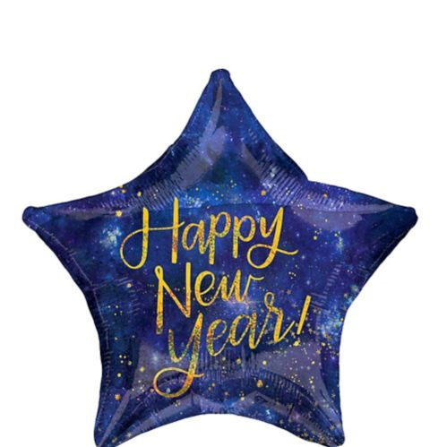 Ballon en étoile, Happy New Year, minuit, 19 po