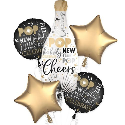 Champagne Bottle New Year's Eve Balloon Bouquet, 5-pc