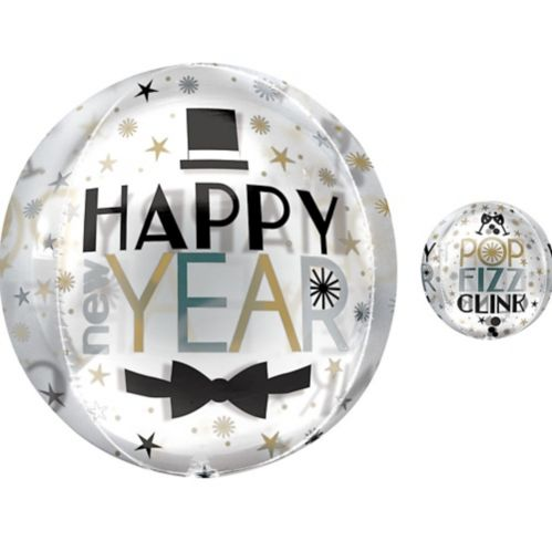 See Thru Orbz Dapper Night Happy New Year Balloon, 16-in