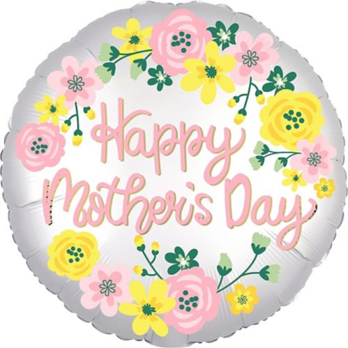 Floral Satin Mother's Day Balloon, 18-in