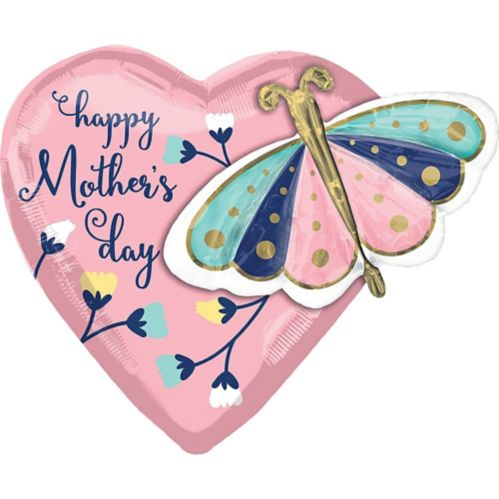 Butterfly Mother's Day Heart Balloon, 26-in