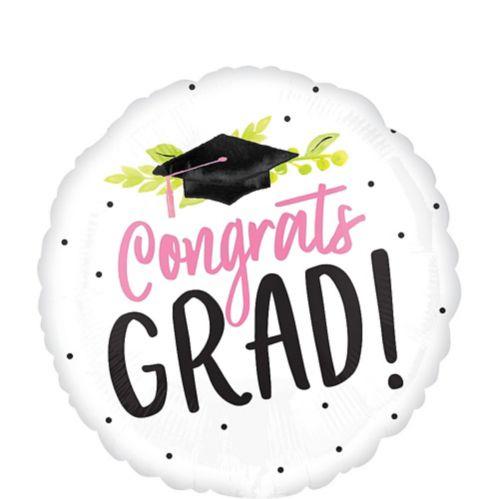 Pink Floral Congrats Grad Balloon, 17-in