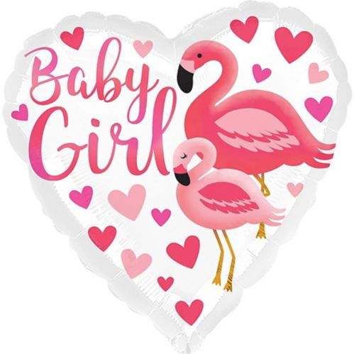 Flamingo Baby Heart Balloon, 17-in