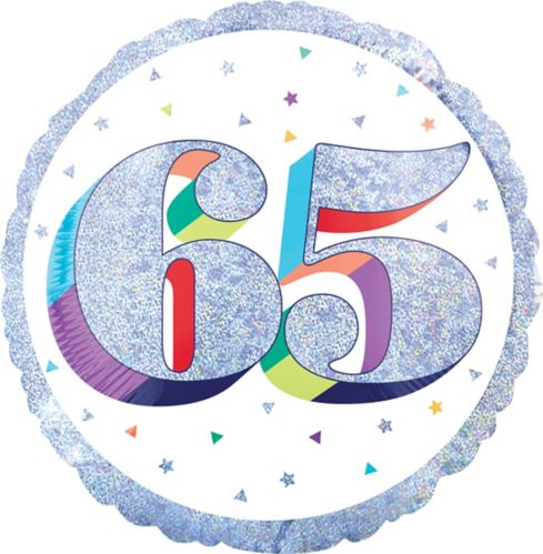 Sparkling Celebration 65th Foil Birthday Balloon, 18-in