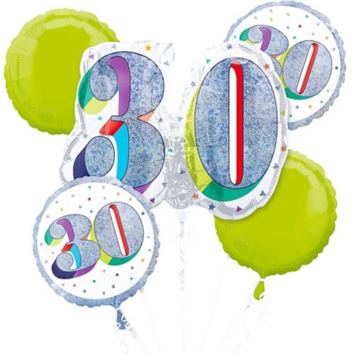 Prismatic Here's to Your 30th Birthday Balloon Bouquet, 5-pc