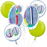 Prismatic Here's to Your 60th Birthday Balloon Bouquet, 5-pc | Amscannull