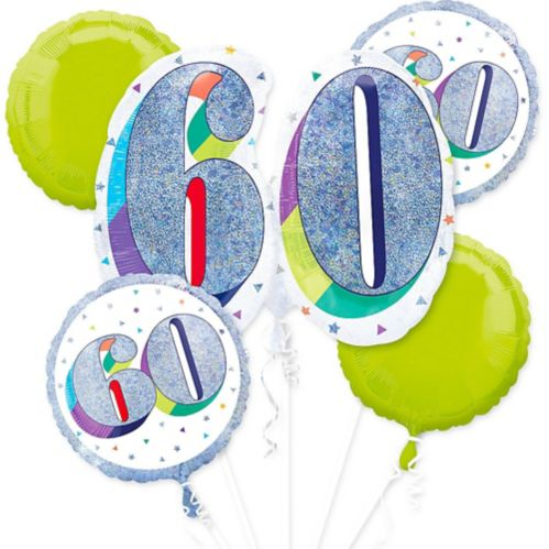 Prismatic Here's to Your 60th Birthday Balloon Bouquet, 5-pc