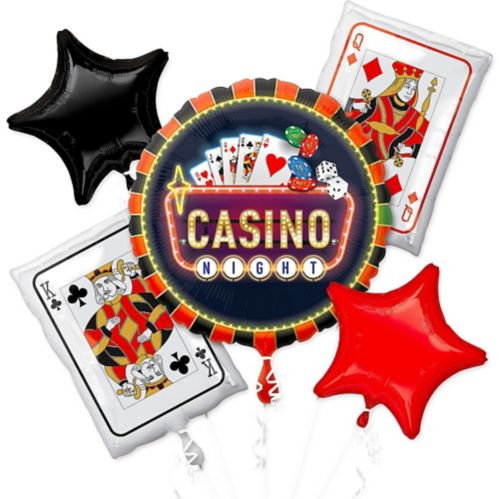 Roll the Dice Casino Balloon Bouquet, 5-pc