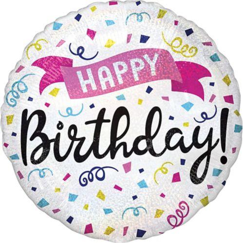 Prismatic Colorful Confetti Happy Birthday Balloon