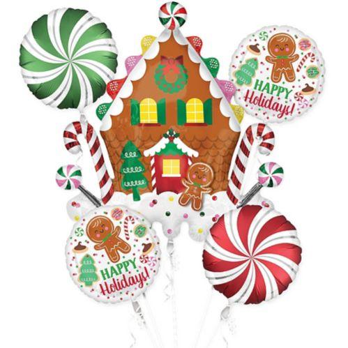 Christmas Gingerbread Balloon Bouquet, 5-pc