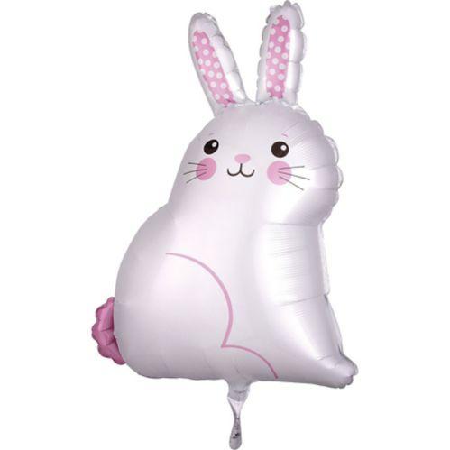 White Easter Bunny Satin Balloon, 17-in