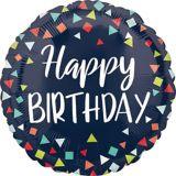 Ballon Happy Birthday, confettis, bleu marine | Amscannull