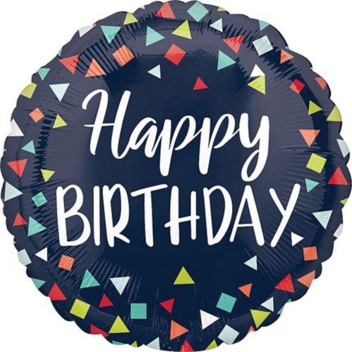Ballon Happy Birthday, confettis, bleu marine