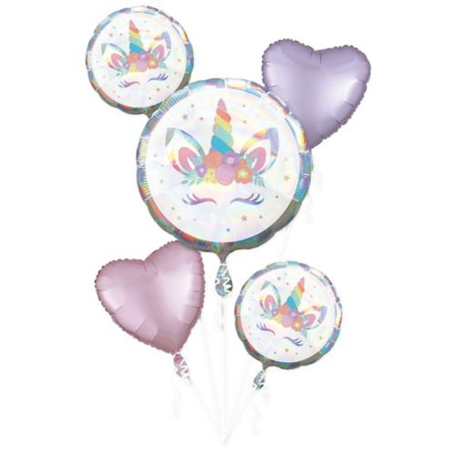 Iridescent Unicorn Party Balloon Bouquet, 5-pc