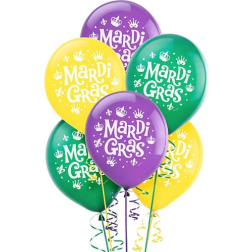 Assorted Mardi Gras Balloons, 15-pk