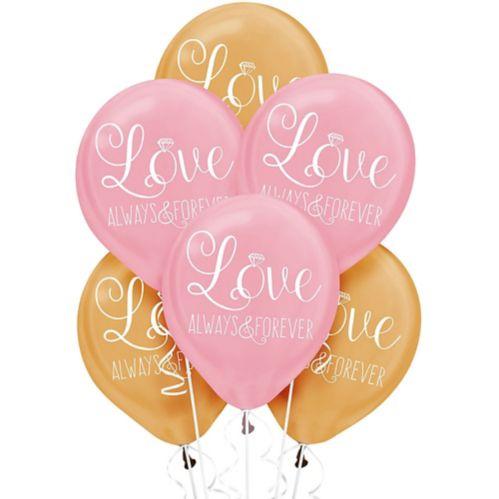 Gold & Pink Sparkling Wedding Balloons, 6-pk