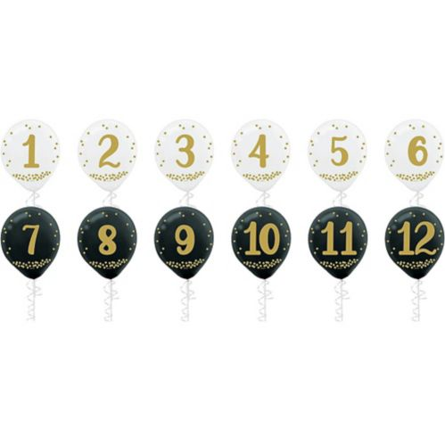 Countdown New Year's Balloons, 12-pk