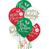 Green, Red and White Christmas Balloons, 15-pc
