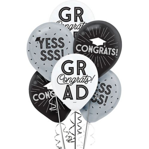 Grid Graduation Balloons, 15-pk