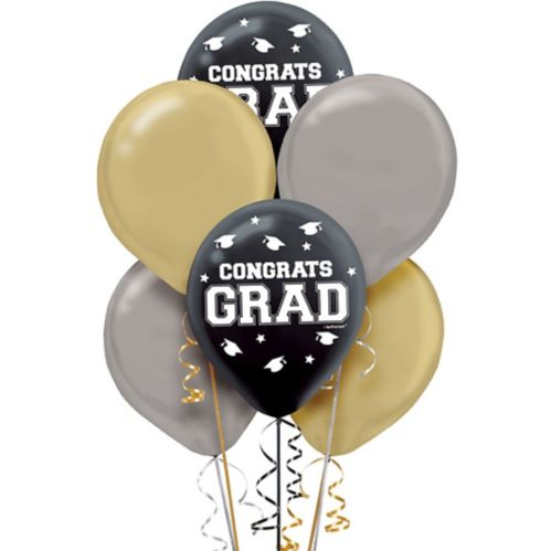 Black, Silver, & Gold Graduation Balloons, 72-pk Product image