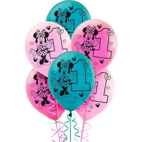 1st Birthday Minnie Mouse Balloons, 15-pk