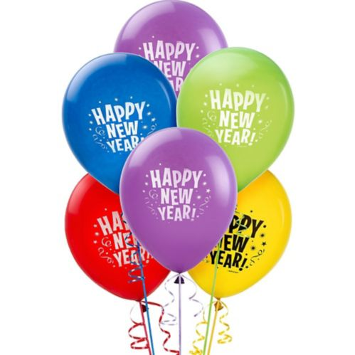 Primary Colour Happy New Year Balloons, 15-pk