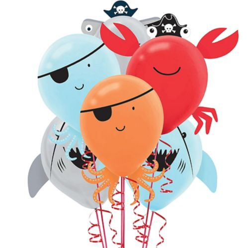 Pirate Shark Latex Balloons, 6-pk