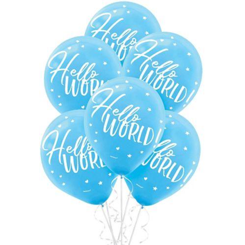 Blue Hello World Balloons, 15-pk