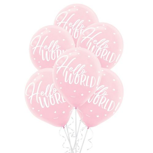 Pink Hello World Balloons, 15-pk