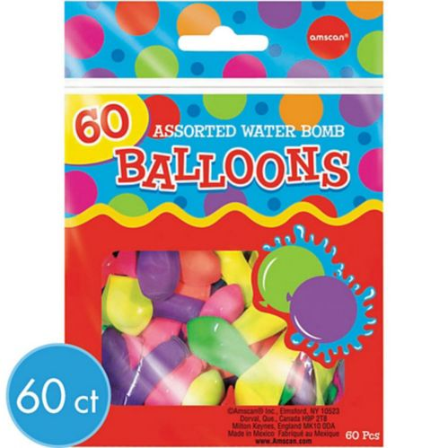 Assorted Colour Water Bombs, 60-ct