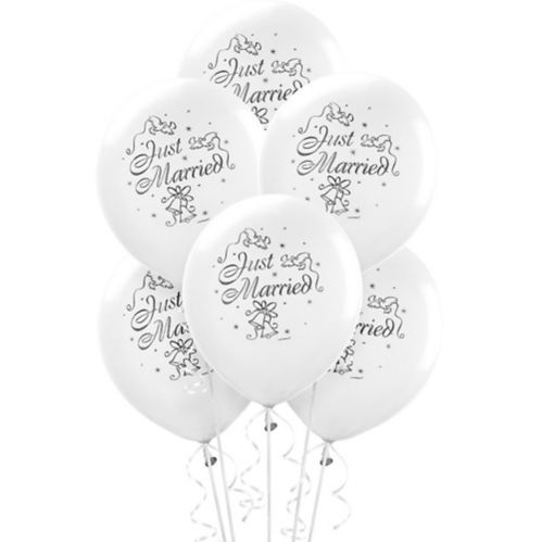 Just Married Wedding Balloons, 15-pk