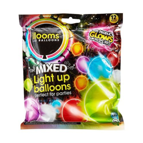 Illooms Light-Up Assorted LED Balloons, 12-pk
