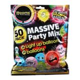 Illooms Massive Mix Assorted Colour LED Balloons & Latex Balloons, 50-pk, 9-in