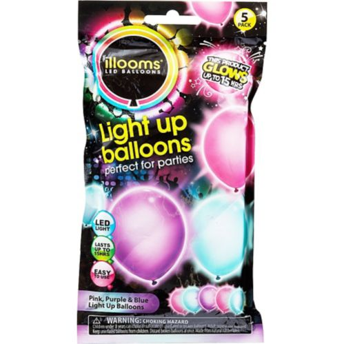 Illooms Light-Up Blue, Pink, & Purple LED Balloons, 5-pk