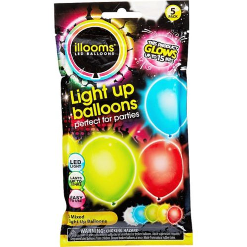 Illooms Light-Up Assorted Colour LED Balloons, 5-pk