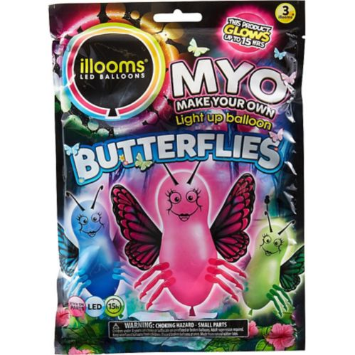 Illooms Light-Up Butterfly LED Balloons, 3-pk