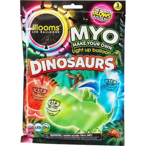 Illooms Light-Up Dinosaur LED Balloons, 3-pk