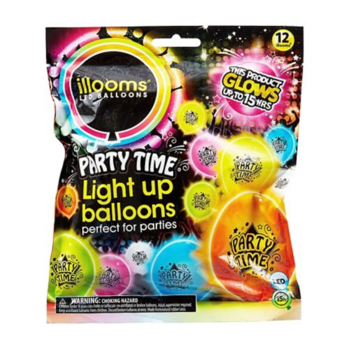 Illooms Light-Up Party Time LED Balloons, 12-pk