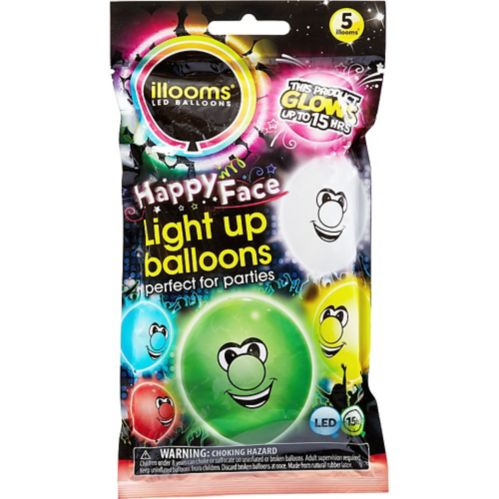 Illooms Light-Up Silly Faces LED Balloons, 12-pk