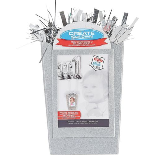 Create Your Own Large Glitter Balloon Weight Centrepiece, Silver