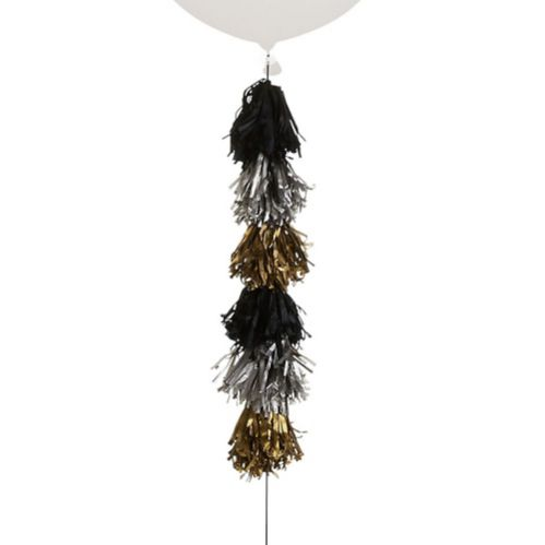 Tassel Balloon Weight Tail, Black/Silver/Gold Product image