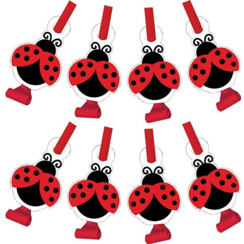 Ladybug Fancy Party Blowers, 8-pk