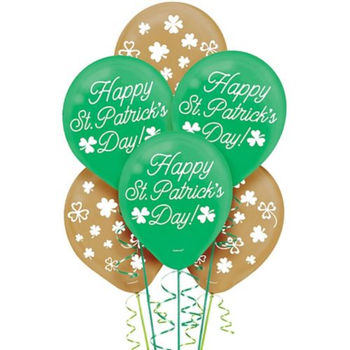 Green Gold St. Patrick's Day Balloons, 15-pk