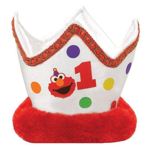 Small 1st Birthday Elmo Plush Crown