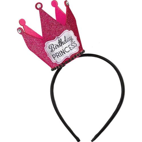 Glitter Pink Birthday Princess Crown Headband