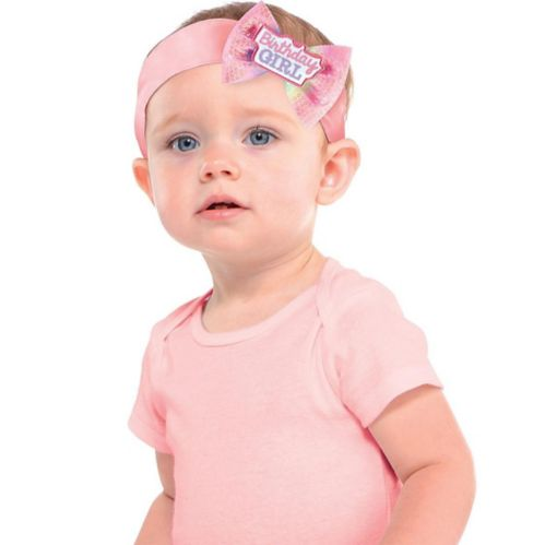 Pink 1st Birthday Girl Bow Headband