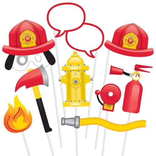 Firefighter Photo Booth Props, 10-pc